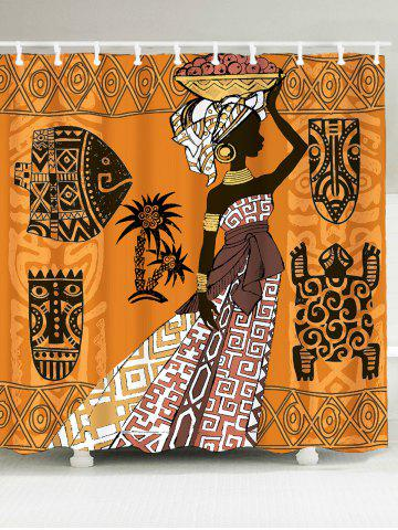 African Tribal Graphic Pattern Shower Curtain - Colorful - W79 Inch * L71 Inch