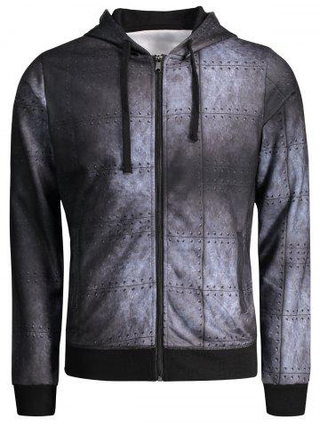 Zip Up Iron Wall Print Hoodie - Colormix - 2xl