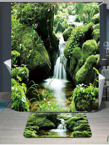 Mountain Moss Stream Waterproof  Rug Shower Curtain Set - Green - W79 Inch * L71 Inch