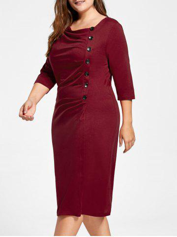 Ruched Plus Size Knee Length Sheath Formal Dress - Red - Xl