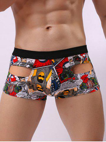 Best Convex Pouch Cartoon Print Hollow Trunk - M GRAY Mobile