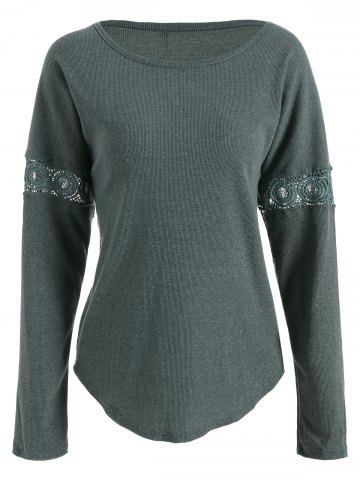 Lace Panel Drop Shoulder Long Sleeve Knitwear - Deep Green - M