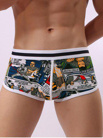 Chic Cartoon Print Elastic Waist Pouch Trunk