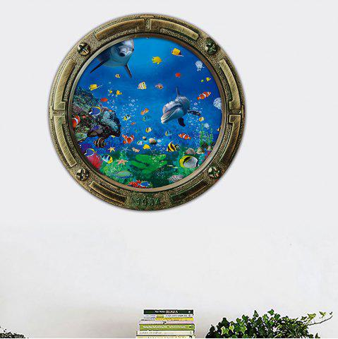 Underwater World Animal Cartoon 3D Wall Sticker - Blue - 45*45cm