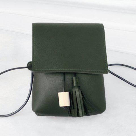 Tassel PU Leather Cross Body Bag - Green - 6xl