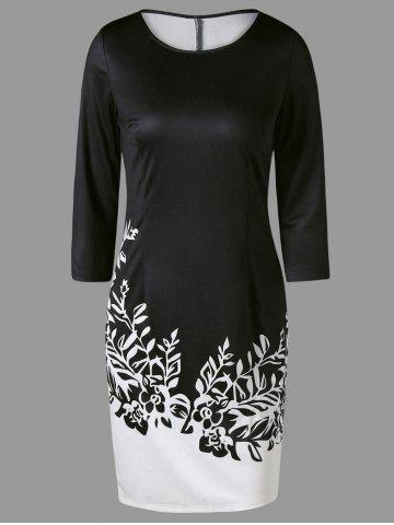 Two Tone Printed Sheath Dress with Sleeves - White And Black - 2xl