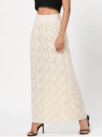 Buy Maxi Floral Lace Skirt - XL OFF-WHITE Mobile