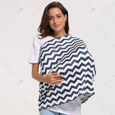 Outfit Breastfeeding Wave Striped Nursing Scarf - PURPLISH BLUE  Mobile