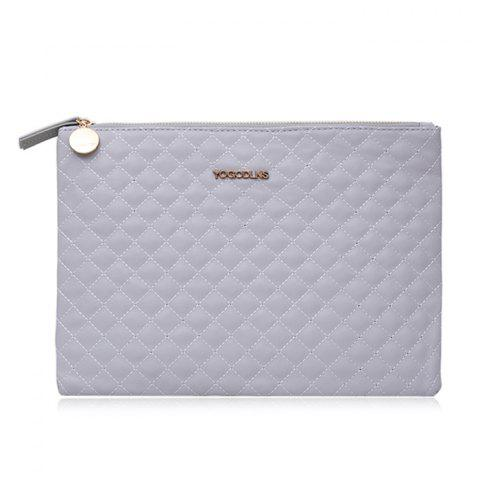 Faux Leather Quilted Clutch Bag - Grey White - S