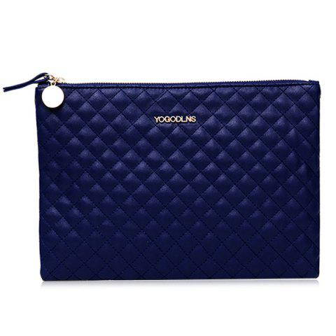 Unique Faux Leather Quilted Clutch Bag BLUE