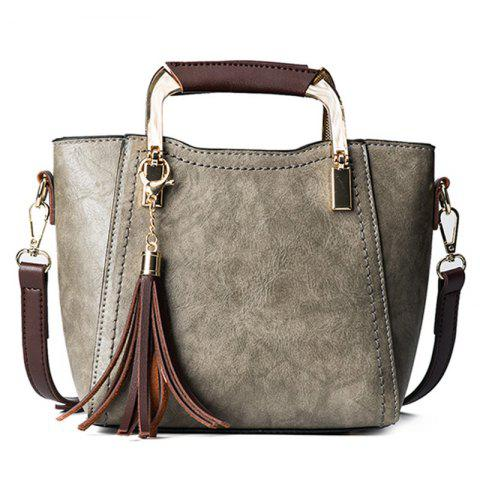 Metal Handle Tassels Handbag - Gray - Horizontal