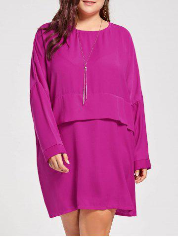 Plus Size Layered Dress with Sleeves - Tutti Frutti - 3xl