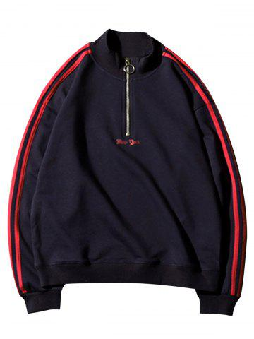 Half Zip Up Stripe Sweatshirt