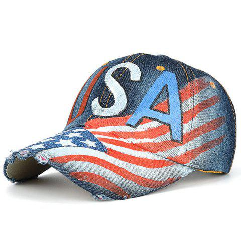 USA Flag Pattern Broken Hole Embellished Baseball Hat - Deep Blue