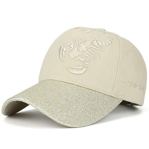 Scorpion Letters Embroidered Baseball Cap - Beige - One Size