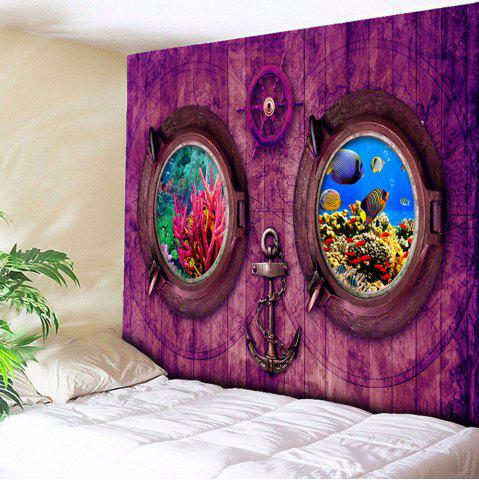 Wood Submarine Printed Wall Hanging Tapestry - Purple - W79 Inch * L59 Inch