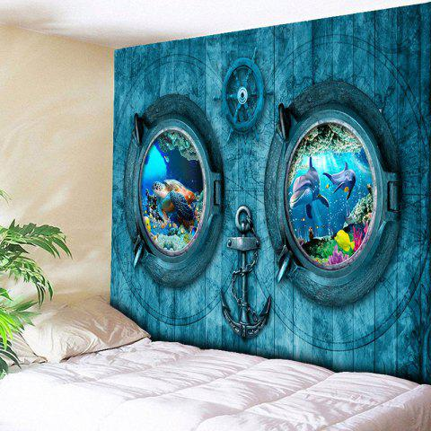 Animal Submarine Print Bedroom Tapestry - Blue - W79 Inch * L59 Inch