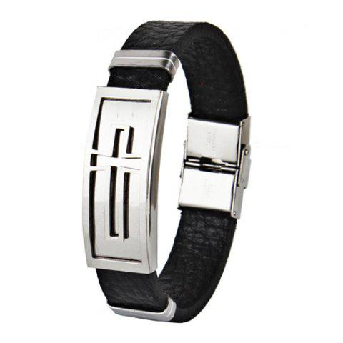 Faux Leather Stainless Steel Crucifix Bracelet - Black