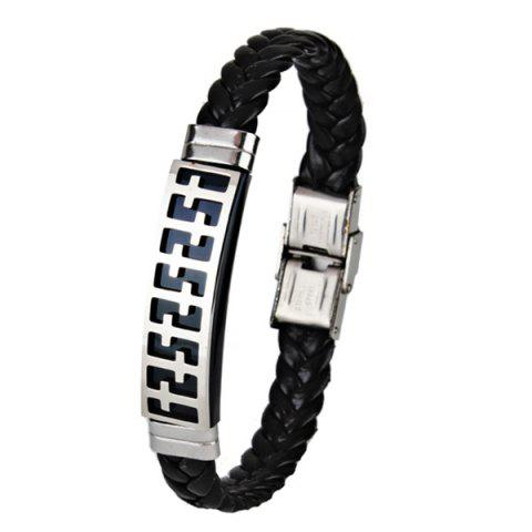 Faux Leather Braid Stainless Steel Crucifix Bracelet - Black