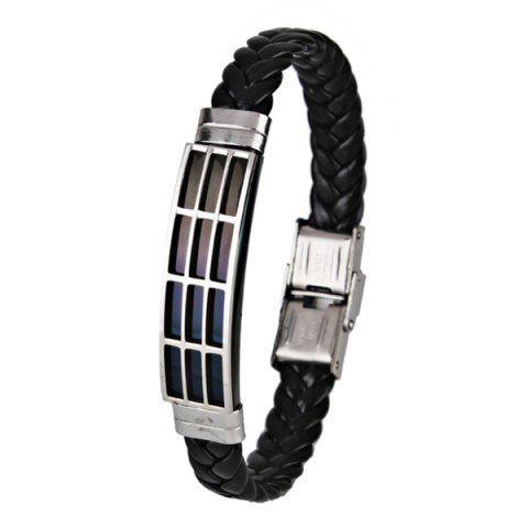 Faux Leather Braid Stainless Steel Bracelet - Black