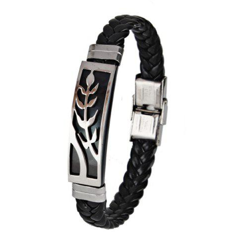Faux Leather Braid Stainless Steel Leaf Bracelet - Black