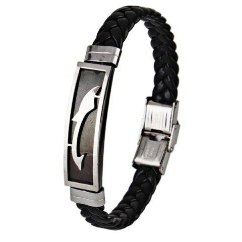 Stainless Steel Faux Leather Braid Bracelet - Black