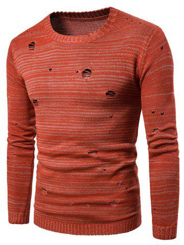 Knit Blends Long Sleeve Distressed Sweater - Orange Red - 2xl