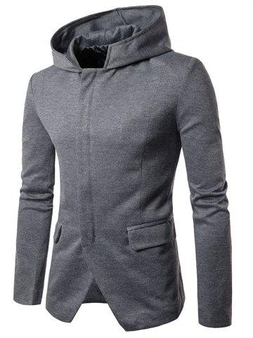Shoulder Pad Hooded Zip Up Cover Placket Coat - Gray - 2xl