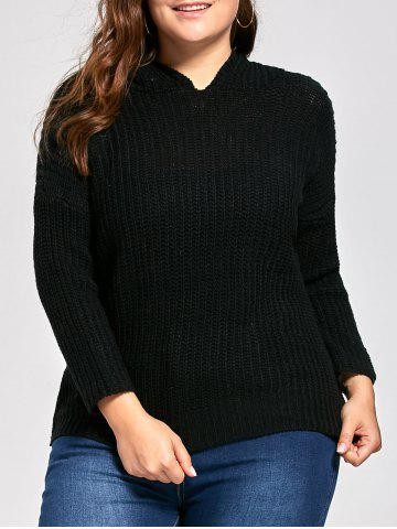 Plus Size Long High Low Chunky Sweater with Hooded - Black - One Size