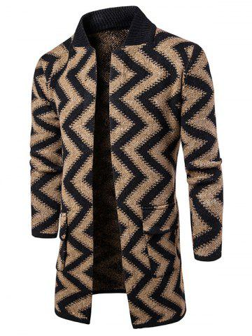 Open Front Slub Knit Chevron Stripe Tall Coat - Camel - 2xl