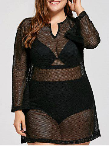 Outfit Plus Size Long Sleeve Mesh Cover Up Tunic Top BLACK XL
