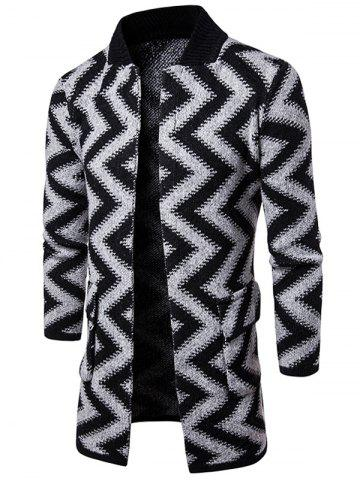 Open Front Slub Knit Chevron Stripe Tall Coat - Light Gray - M