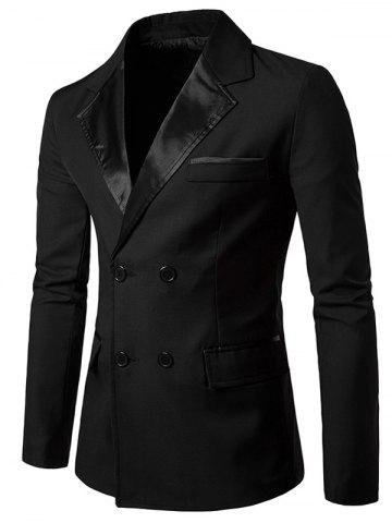 Affordable PU Leather Panel Edging Double Breasted Blazer BLACK 2XL