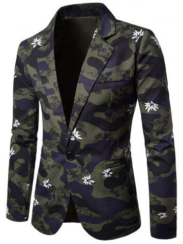 Chic Lapel Camouflage Floral One Button Blazer CAMOUFLAGE M