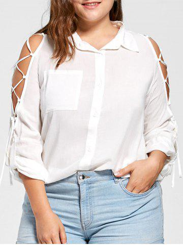 Plus Size Lace Up High Low Blouse - White - 5xl