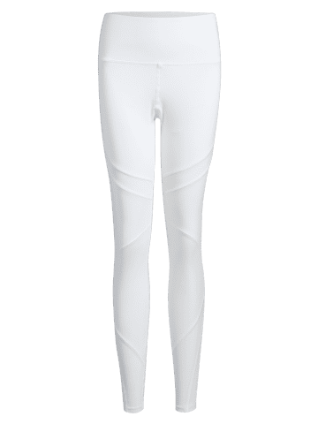Unique High Waisted Mesh Panel Workout Leggings - S WHITE Mobile