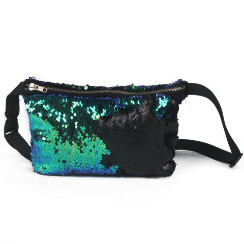 Color Block Sequins Fanny Pack - Black And Green