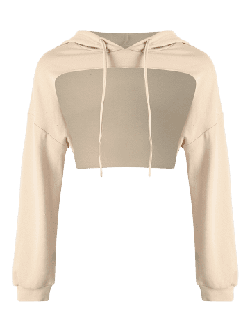 Affordable Open Front Sports Long Sleeve Cropped Hoodie - ONE SIZE KHAKI Mobile