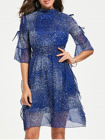 Hot Split Sleeve Star Print Chiffon Cocktail Dress BLUE L
