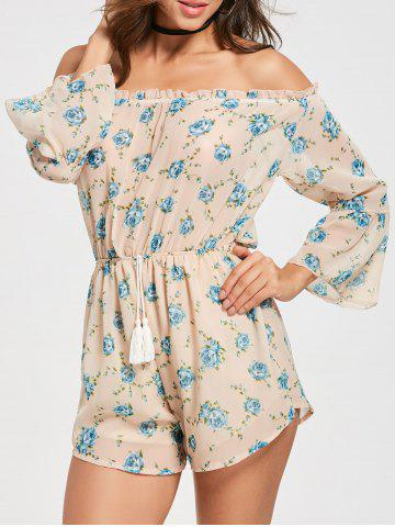 Off The Shoulder Floral Chiffon Romper Rose Clair S