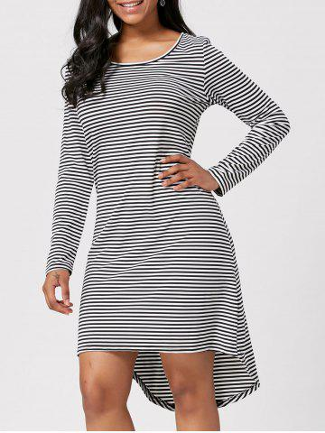 Cut Out Back Striped High Low Dress - Stripe - S