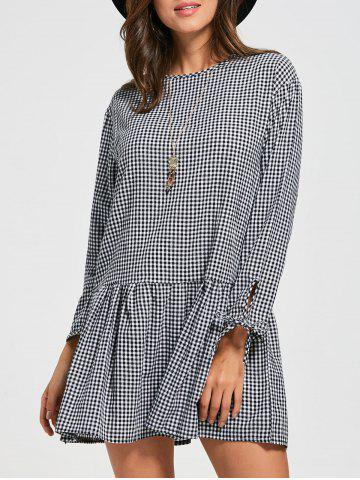 Long Sleeve Casual Flounce Dress - Checked - Xl