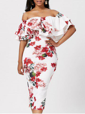 Discount Ruffle Off The Shoulder Bodycon Floral Dress - S WHITE Mobile
