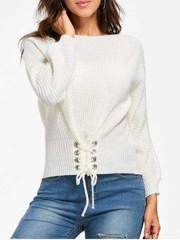 Boat Neck Lace-up Long Sleeve Sweater - White - One Size