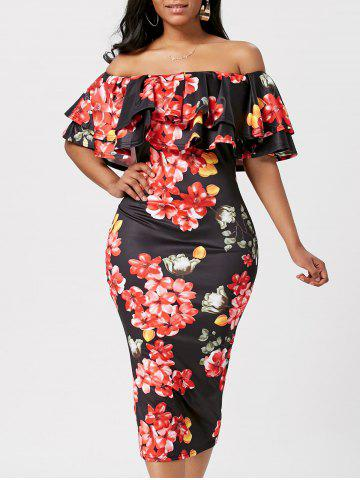 Ruffle Off The Shoulder Bodycon Robe Floral Noir S
