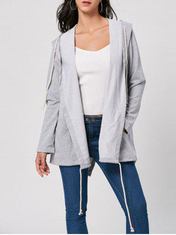 Longline Drawstring Hooded Coat - Gray - S