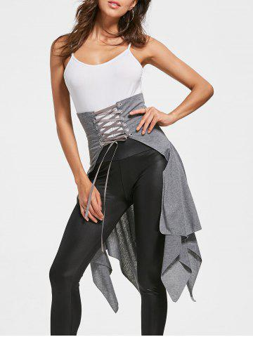 Affordable High Waist Front Slit Lace Up Asymmetrical Skirt GRAY S