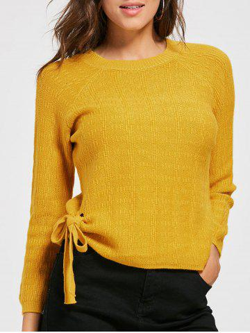Trendy Crew Neck Self Tie Knit Sweater