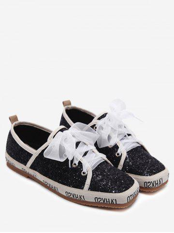 Best Square Toe Sequined Sneakers BLACK 38