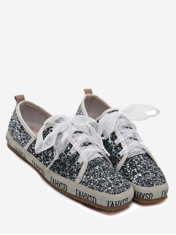 Fancy Square Toe Sequined Sneakers - 37 GRAY Mobile